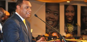 Christie delivering his address at the 2012 PLP Candidates Launch.